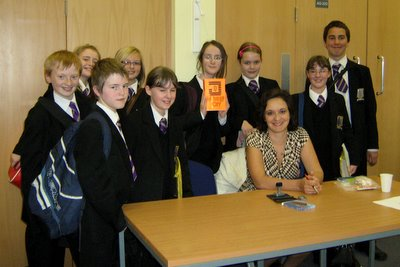 Students from St Mary's Menston School in Leeds with MG Harris at the 2009 Leeds Children's Book Award.