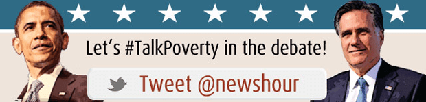 Click to send a custom tweet, saying Lets Talk Poverty