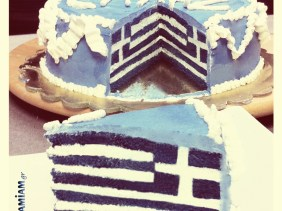 Greek Flag Cake
