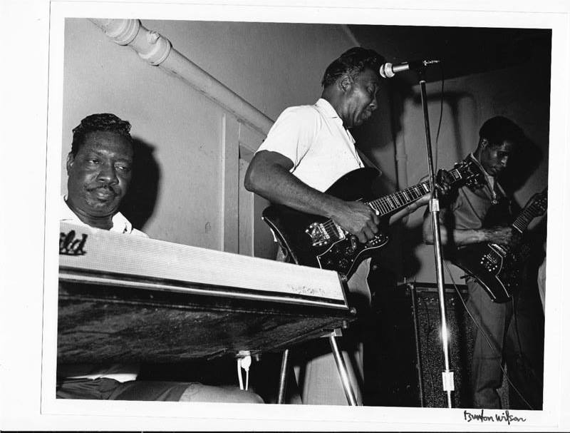 "Otis Spann, Muddy Waters, Luther ""Georgia Boy Snake"" Johnson at the Vulcan in 1968. First night of two."