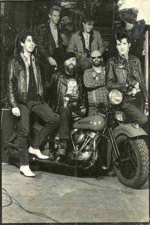 L-R Grissom, Mudcatt, Holt, Curly, Benny. Paul Sessums on motorcycle.