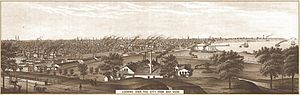 English: 1882 drawing of looking over Milwauke...