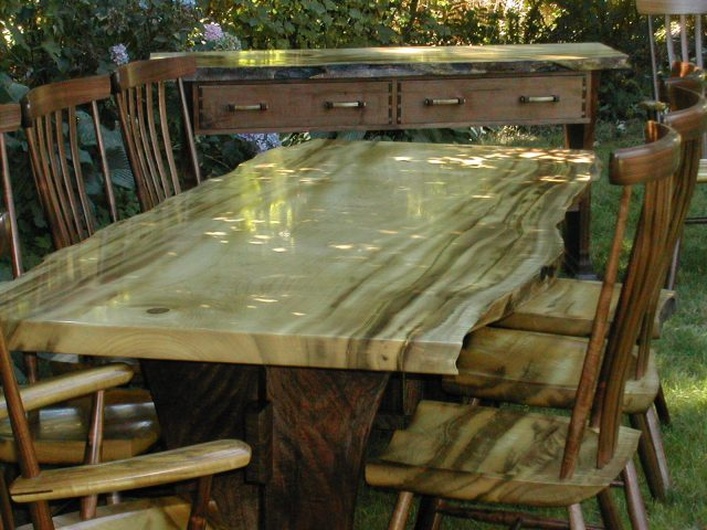Myrtle wood and walnut dining table set