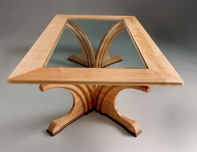 Western maple and  glass table