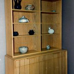 Oak bookcase and cabinet