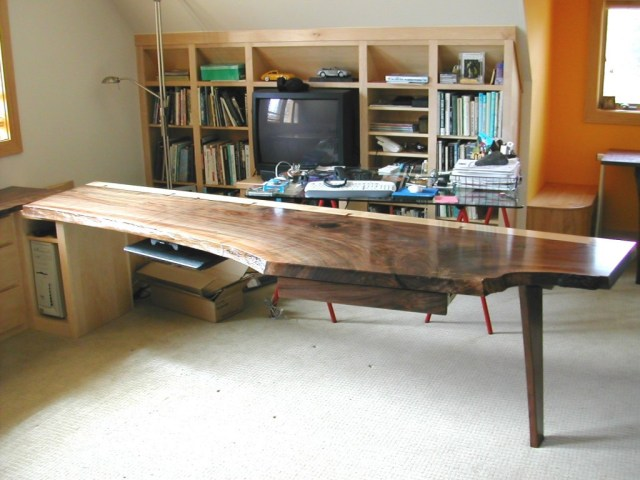 Walnut desk with natural edge