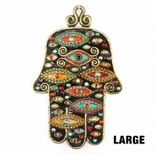 http://www.michalgolan.com/Black-toned-wall-hamsa-adorned-w-multi-eyes-handmade-at-Michal-Golan-studios-USA.html