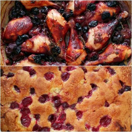 כתמים של אושר / דובדבנים עם שוקיים של עוף או בעוגה מהירה