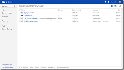 Image de Microsoft Skydrive illustrant la recherche instantannée
