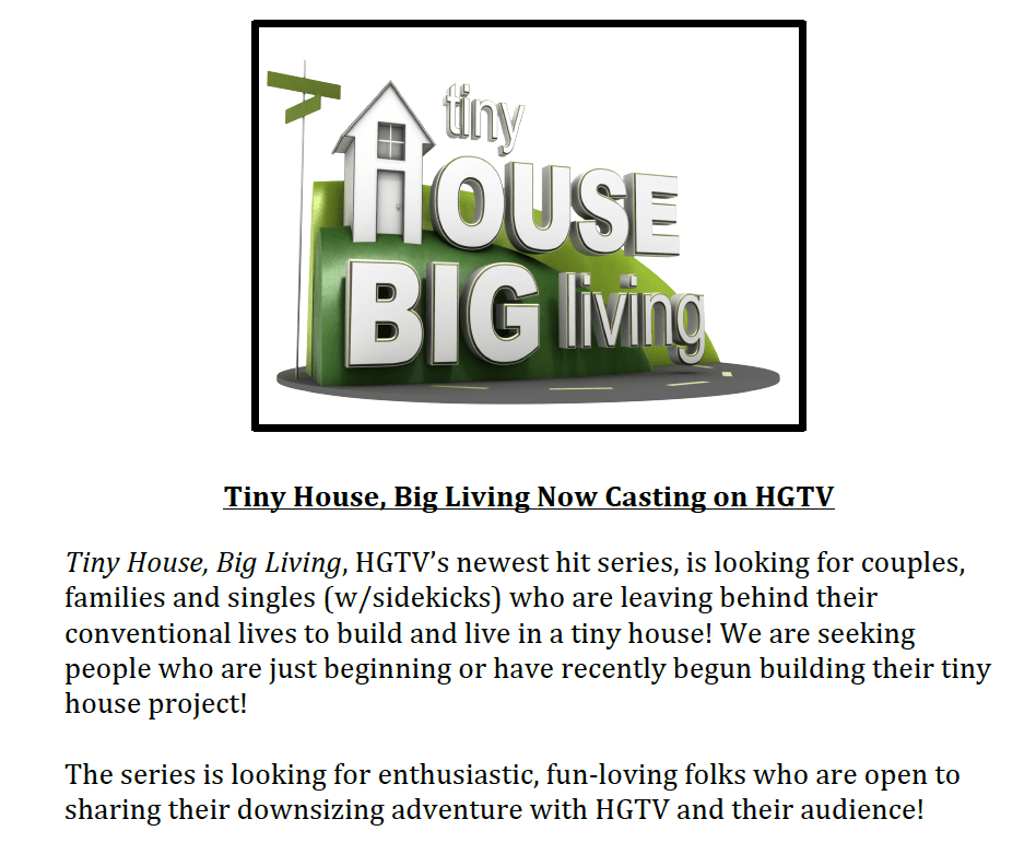 Tiny House / Big Living cast call