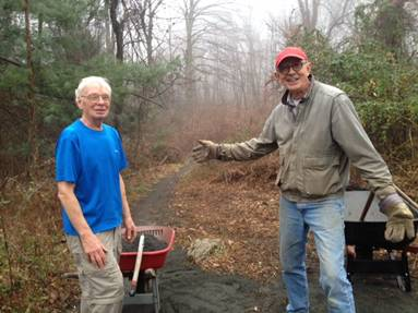 Steve & Elwin making trail at Palmer Taylor Preserve.