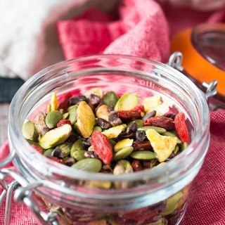 This healthy Homemade Trail Mix is full of nuts, dried fruit, cacao nibs and plantain chips. Whether you're headed back to school or back to the office this healthy, on-the-go snack will help you meet your next challenge head on. Vegan and gluten free.
