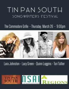 Tin Pan South 2015 Thursday March 26 at The Commodore Grille
