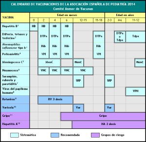 Calendario vacunaciones vacunas pediatría