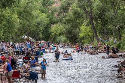 Cooling down in the St. Vrain at the Rocky Mountain Folks Fest 2015