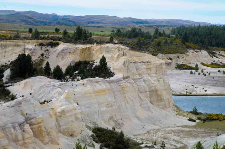 Miocene braided river sediments at Grey Lake, near St Bathans, New Zealand.