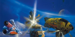 """Chris Foss' artwork for the front covers of Asimov's triology """"Foundation"""", """"Foundation & Empire"""" and """"Second Foundation"""". Foss also contributed artwork to the Terran Trade Authority books."""
