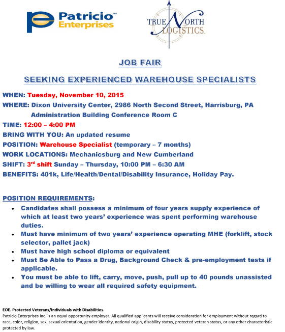 Job Fair Flyer - Warehouse Specialists New Cumberland