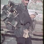 A peddler in a Warsaw ghetto, after the German conquest.