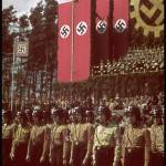 Brown shirts in front of Hitler at cornerstone ceremony, Fallersleben Volkswagen Works. 1938