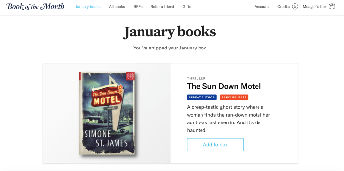 Book of the month club screenshot.