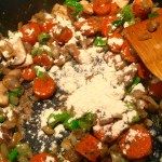 Saute the vegetables, then toss in remaining flour