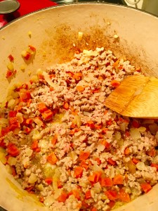 Add the ground turkey and brown.  Add the wine and simmer for 3 mins., then add half & half.