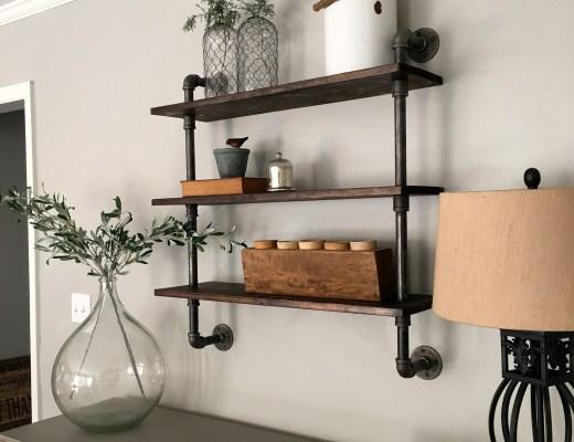 DIY Pipe Shelving - Mindfully Gray