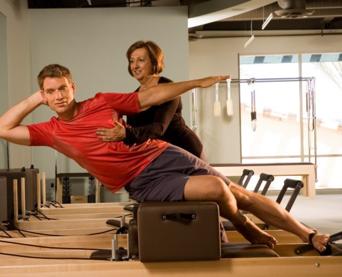 (An Advanced Pilates move demonstrating a strong running core)
