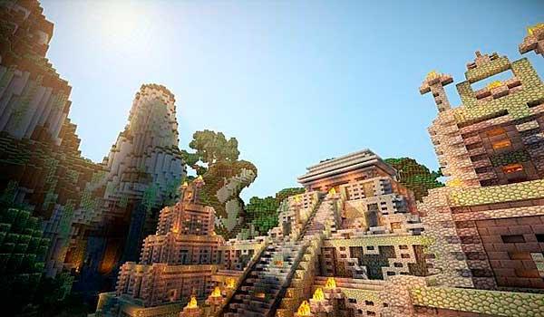 imagen donde vemos la recreación de un templo Maya, utilizando eventime texture pack para Minecraft 1.9.
