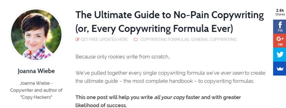 Copywriting formulas