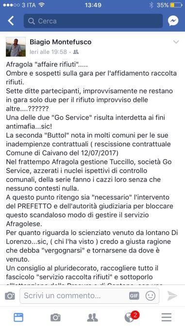 Post del consigliere Montefusco