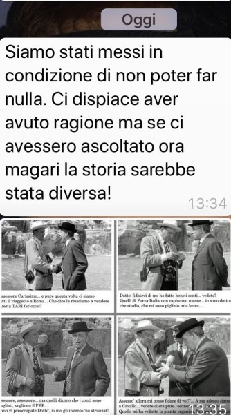 Messaggio Whatsapp inviato dal consigliere Gaetano Ponticelli a tutti i presenti della propria rubrica telefonica
