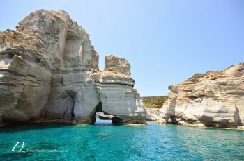 The white caves and coves of Kleftiko in Milos, Greece