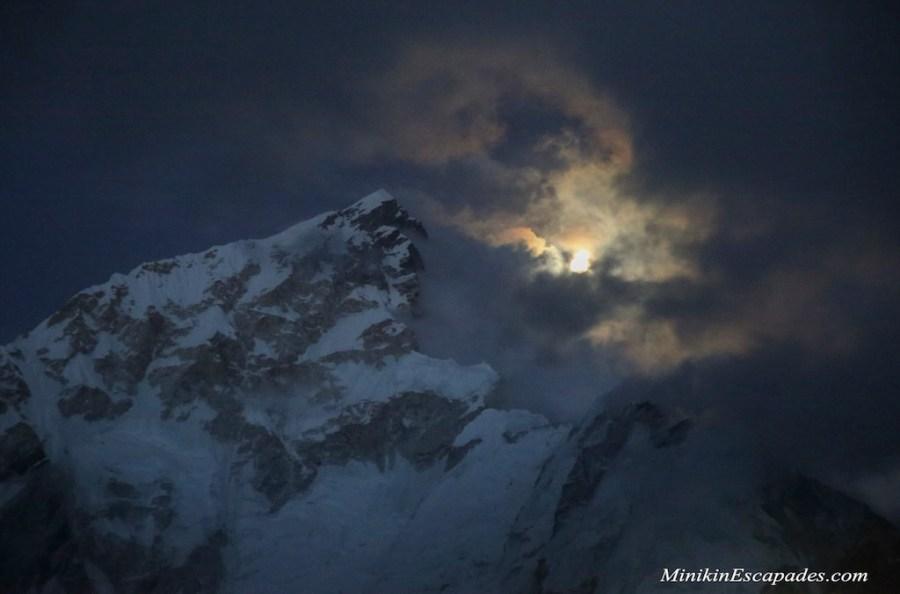 Moonrise over Nuptse and Everest from Gorakshep