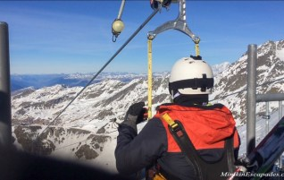 Tyrolienne in French alps, the highest zipline in the world