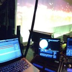 My view for the night, ProPresenter, Ableton Live, and an ETC ION