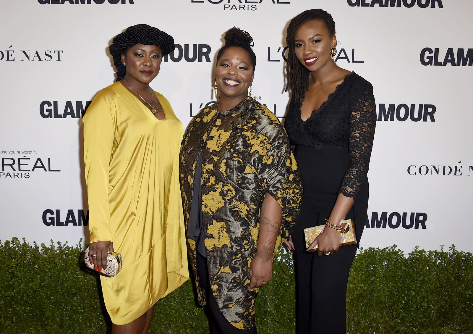 Alicia Garza, from left, Patrisse Cullors and Opal Tometi, co-founders of the Black Lives Matter movement, arrive at the Glamour Women of the Year Awards at NeueHouse Hollywood on Monday, Nov. 14, 2016, in Los Angeles. (Photo: Jordan Strauss/Invision/AP)