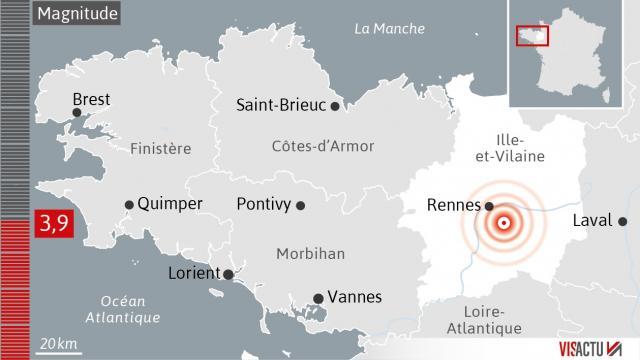 Rennes: séisme de magnitude 3,9