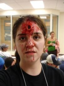 trauma, wound, sfx make up, special effects makeup, horror, gore, gaping hole, gunshot wound, GSW, liquid latex, wax