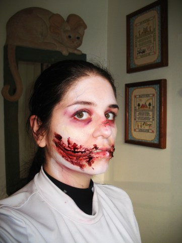 sfx makeup, special effects make up, horror, gore, trauma, wounds, prosthetic, silicone, lacerations, chelsea smile