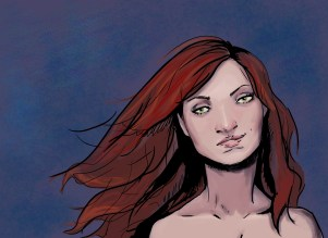 digital art, female, red hair, green eyes, portrait, digital, comic