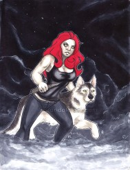 female, pinup, wolf, dog, hunter, slayer, vampire hunter, night, fog, clouds