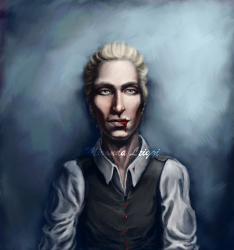 vampire, digital art, portrait, painting, blond hair, blue eyes,bloody mouth
