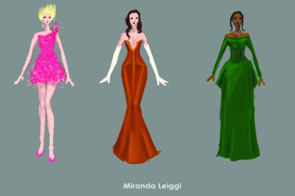 costume sketches, costume renderings, oscar dresses, fancy dress