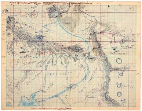 Карта Рохана, Гондора и Мордора с отмеченным маршрутом героев.
