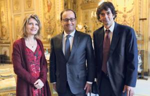 President Francois Hollande with Mark Moogalian and his wife, Isabella Risacher, at the Elysee Palace