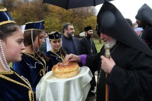 Catholicos of All Armenians Karekin II at the Dilijan ground blessing service