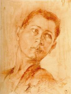 """Young Man,"" Conté crayon by Simon Samsonian, 1936"