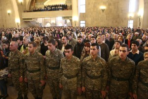 Soldiers at the prayer service